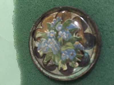 Antique horse bridle rosette / button-----forget me nots