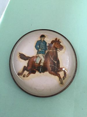 Antique horse bridle rosette / button brooch ---/ officer on horse ??