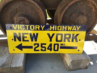 1910's Victory Highway Porcelain Auto Trail Sign New York Wells Nevada Early