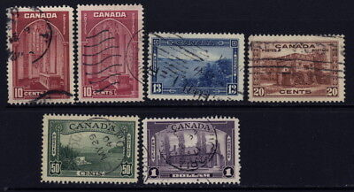 Canada 241 to 245 used complete set (with 241a) w/different cancels