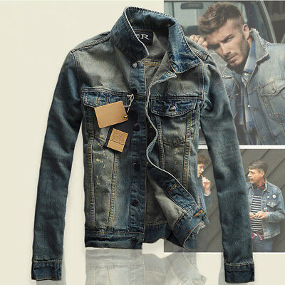 HOT Men's Slim Fit Retro Thicken Coat Jean Denim Jacket Lapel Outerwear S-3XL