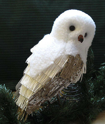RARE Pottery Barn Arctic Snowy Owl XMAS Tree Topper Ornament Winter White Hedwig