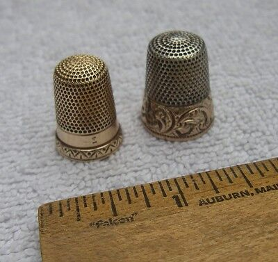 Fine Victorian 14K YELLOW GOLD Thimble + GOLD CLAD Silver Thimble-NR