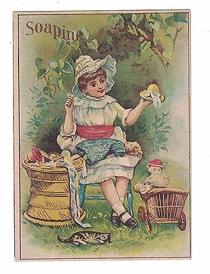 Soapine Trade Card - Young Girl with Dolls  - Kendall Mfg Co