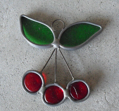 "Small Stained Glass Cherry Wall or Window Hanging 3"" Tall"