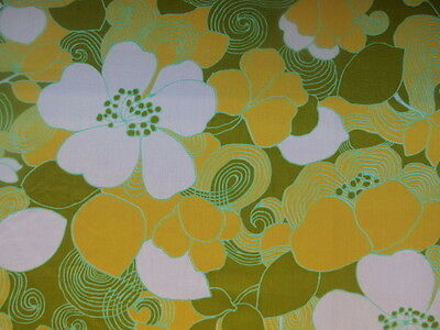 "America Vintage fabric Retro Green flower 45"" x 35"""