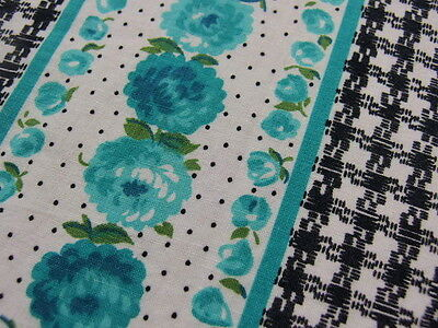 "America Vintage fabric Retro Blue Rose 37""x40.5"" 1960s no:54"