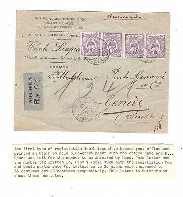 NEW CALEDONIA 1920 Registered Cover to GENEVA, cds NOUMEA    SCARCE