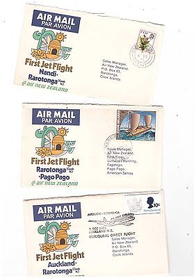 Australia 1973 Group of Air New Zealand FLIGHT Covers              ( 3 Covers )