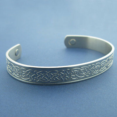Irish Celtic Stainless Steel Magnetic Therapy Bangle Cuff