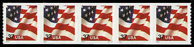 US #3632A-Pl. S4444  37¢ Flag PS5 PNC5, Smooth Tagging, VF-XF NH MNH