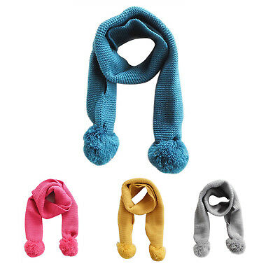 SS Baby Neck Winter Warm Solid Color Scarf Boy Girl Knitted Scarf (blue)