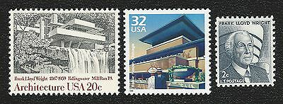 Frank Lloyd Wright Fallingwater Robie House Chicago Guggenheim Museum Stamps Set