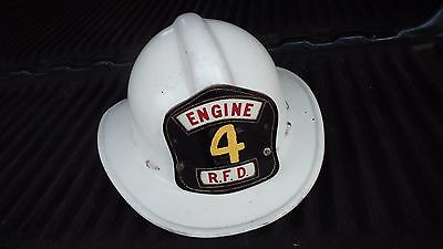 Vintage  Fire Helmet  RHINEBECK NY Leather Patch Badge RFD ENGINE 4