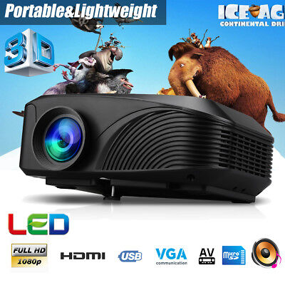 Excelvan Portable 1080P HD 3D LED Projector Home Theater Cinema HDMI USB VGA AV