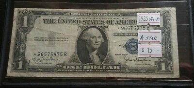 USA 1935 D $1 Dollar Bill Silver Certificate Star Replacement Banknote Blue Seal