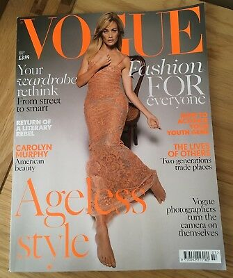 Vogue UK magazine, July 2017.  Carolyn Murphy cover. Ageless style issue.