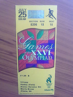 Ticket Olympic Games ATLANTA 25.07.1996 HOCKEY FIELD