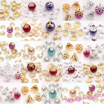 HOT!!!300PC Silver/Gold Plated Flower Shape Loose Bead Caps Jewelry Findings DIY