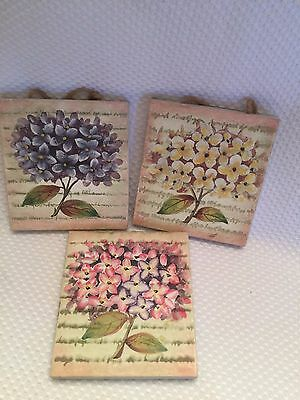 Home Interiors 3 Piece Floral Wall Plaques Faux Stone Flowers Flowers HOMCO RARE