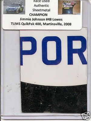 Jimmie Johnson authentic # 48 Lowes race used sheet-metal Martinsville 2008
