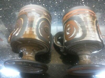 VINTAGE 1970's PAIR of BRIGLIN POTTERY FOOTED STUDIO  MUGS VGC