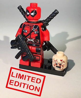Deadpool - Custom Collectible Lego Minifigure Marvel Heroes Two Heads LIMITED