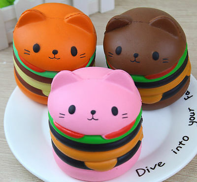 Squishy Cat Hamster Burger Simulation Food Slow Rising Charm Stress Relief Toy