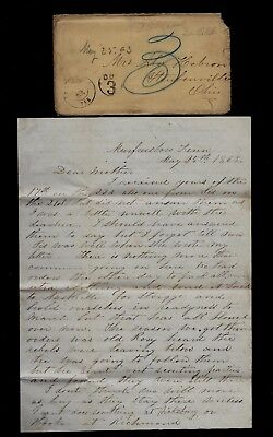 2nd Ohio Infantry CIVIL WAR LETTER in Tennessee GUNBOATS, Gen Rosecrans CONTENT!