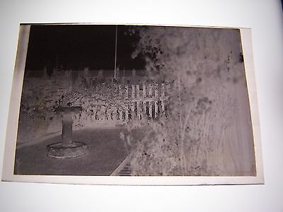 Vintage Negative Garden View with Stone Sundial