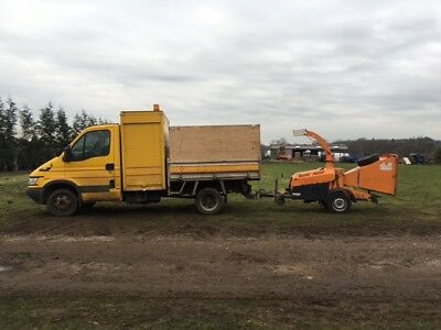 6 inch feed industrial wood chipper/shredder hire with operator Surrey, Berks.