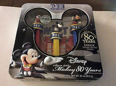 Disney Mickey Mouse 80 Year 3 Pez Dispensers In Tin Never Opened
