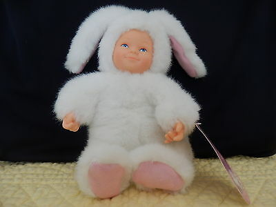 """Anne Geddes  Baby White 7"""" Bunny Bean Filled Plush Bunny With Baby Face! Nwt"""