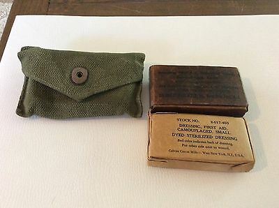 Vintage Military First Aid Dressing Camouflaged For Individual Troop With Case
