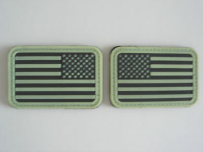 """2 Pairs = 4 pcs New US FLAG 'GLOW IN DARK"""" rubberized patch in 2 patterns"""