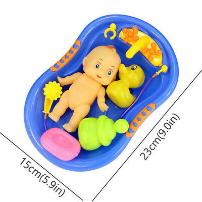 Plastic Bathtub with Baby Doll Bath Time Toy Set Miniature Furniture Blue
