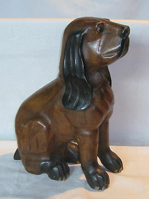 Vintage folk art hand carved wooden Hound Dog statue figurine