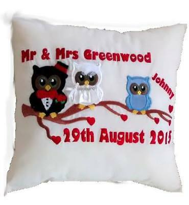 Personalised Embroidery Owl Family Tree Wedding Cushion.Change text/colour/names