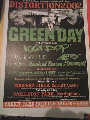Distortion 2002 Green Day Iggy Pop Idlewild Levellers Reasons Kerrang Poster