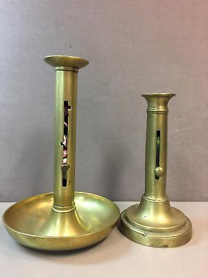 "Lot of 2 Vintage Brass Candle Stick Holders Metal Candle Push Ups 9"" 8.5"""