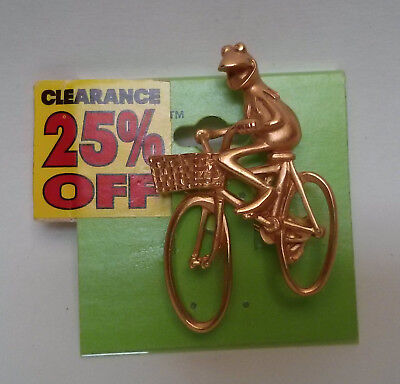 Muppets Vintage Kermit on bicycle pin NEW RARE