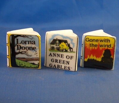 Fine China Thimbles - Set Of Three Miniature Book Style -  American Titles
