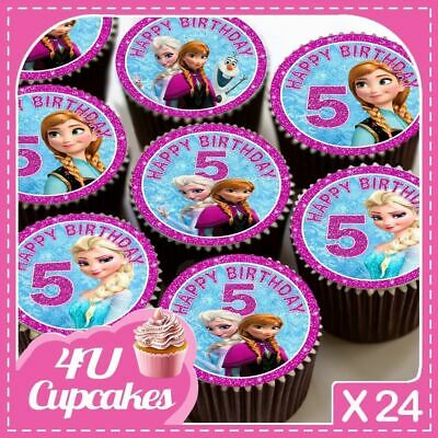 24 X Happy Birthday 5Th Pink Frozen - Edible Cupcake Toppers Rice Paper Cc7297