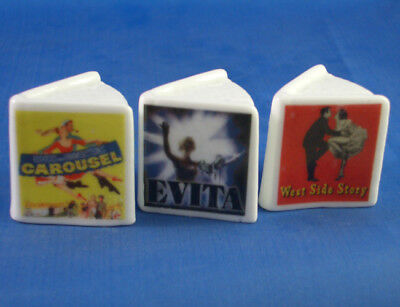 Fine China Thimbles - Set Of Three Miniature Book Style -  Musicals