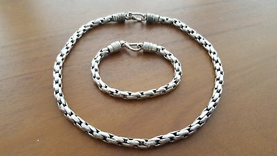 vintage stunning matching silver necklace and bracelet heavy chain 87 g