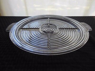 "Anchor Hocking Glass Clear Manhattan 5 part Divided 14"" Relish Tray Platter"