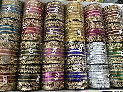 PACK OF 48  MIRROR GLITTER INDIAN BANGLES CHURI BOLLYWOOD JEWELLERY SET x  60