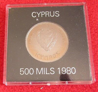 Cyprus Coins -1980  Olympic Games  500 Mils   c/u UNC   in  Rigid Plastic Case