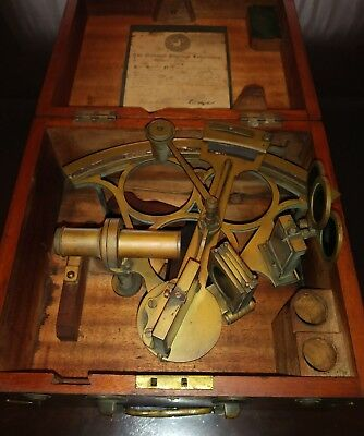 VINTAGE c1800's  SEXTANT HENRY HUGHES&SON ltd  #5833 ENGLAND WITH BOX
