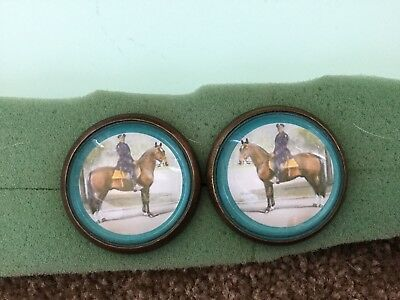 Horse bridle rosette / button---policeman on horse